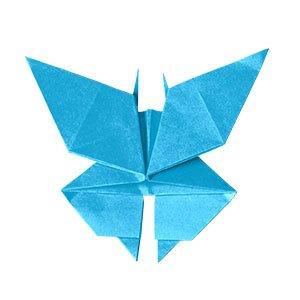 origami bleu en forme de papillon vue de haut