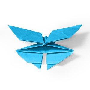 origami bleu en forme de papillon vue de l'arrière