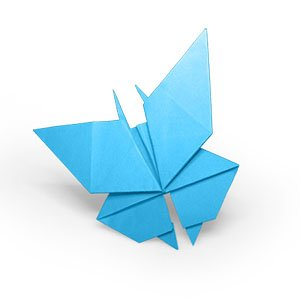 origami bleu en forme de papillon vue de coté