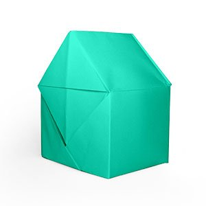 origami turquoise en forme de maison vue de côté